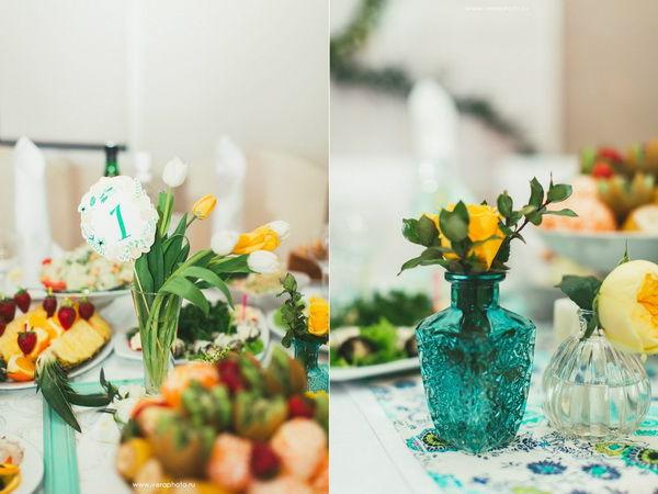 оформление свадьбы в желтом и мятном цвете
