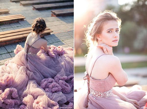 розовом платье невесты