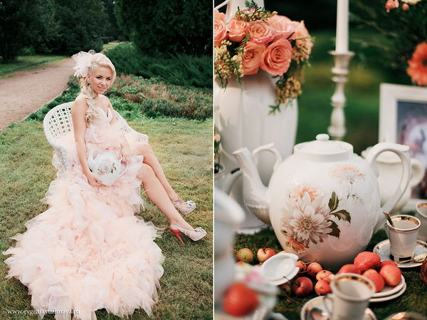 персиковое платье для невесты
