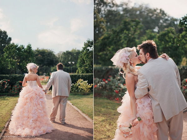 персиковый цвет для свадьбы