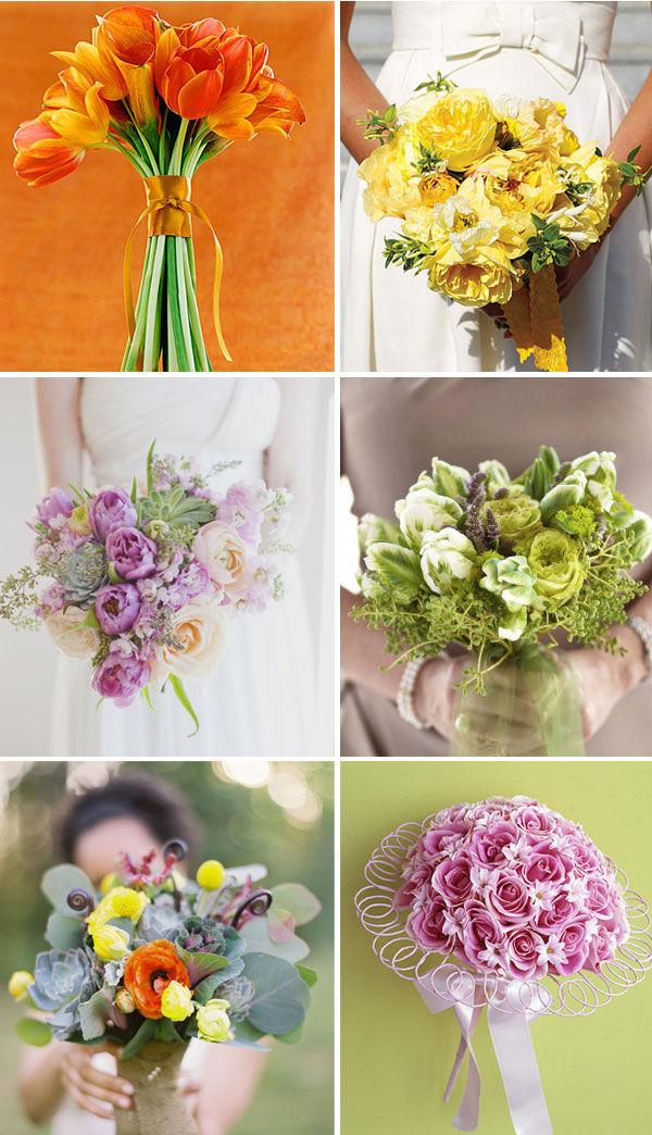 свадебные яркие букеты невесты