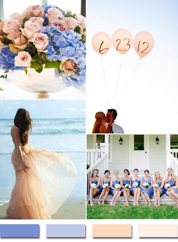 офомление свадьбы в голубом и персиковом