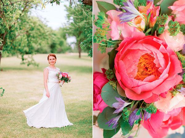 свадебный букет невесты с пионами