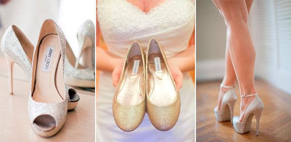 свадебные туфли с блестками