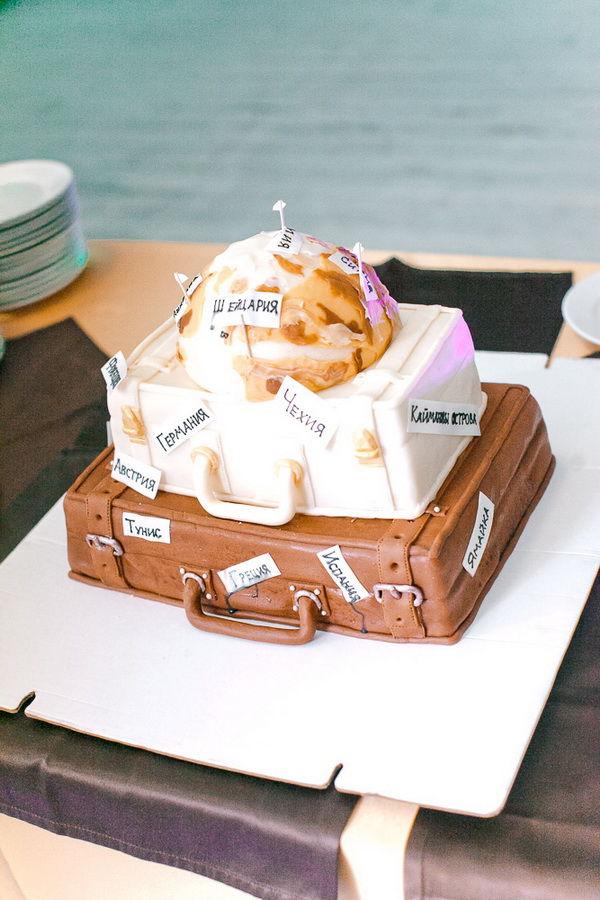 свадебный торт в стиле путешествий