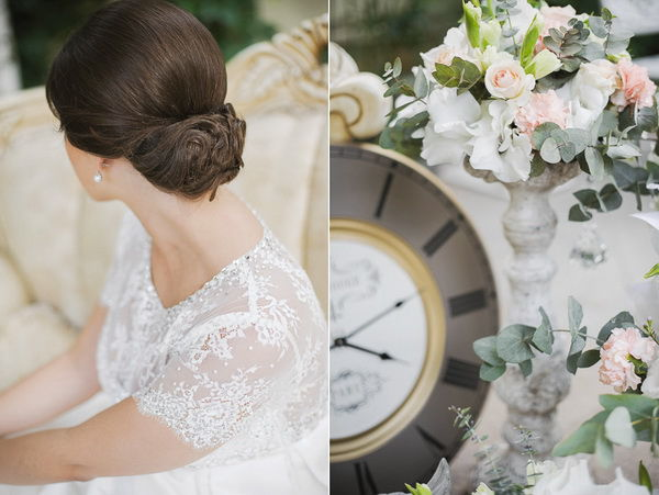 прическа невесты пучок