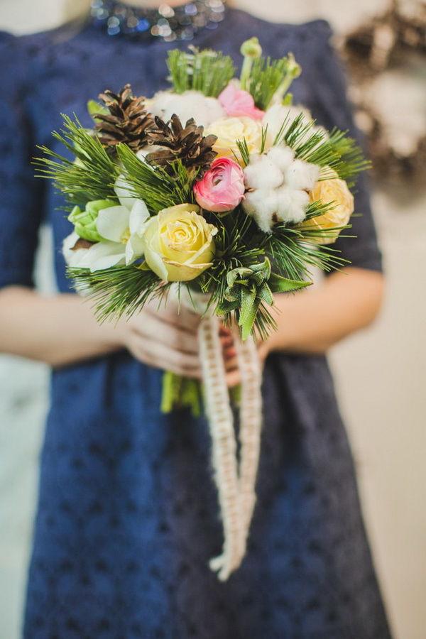 шишки в букете невесты