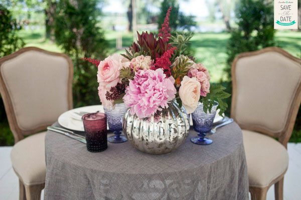 оформление в сером и розовом цветах