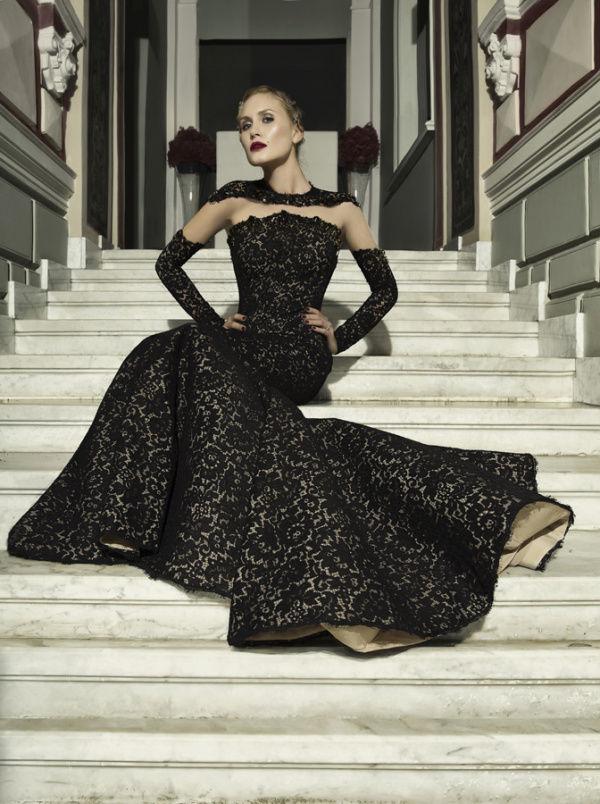 черное ретро платье