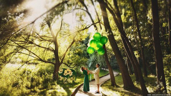 фотосессия в зеленом цвете