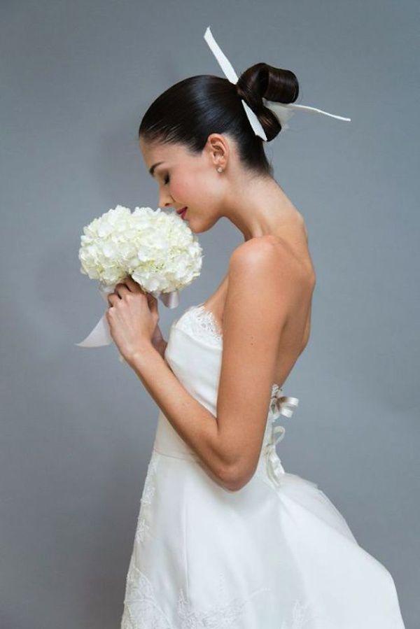 банты в прическе невесты