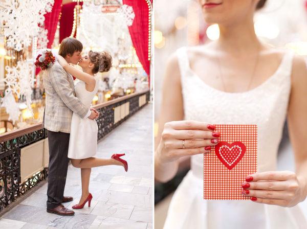 красный цвет свадьбы зимой