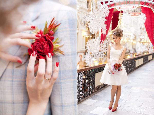 красный букет на свадьбу