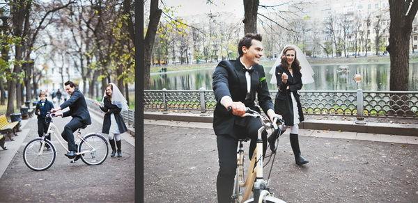 велосипед на свадьбе осенью