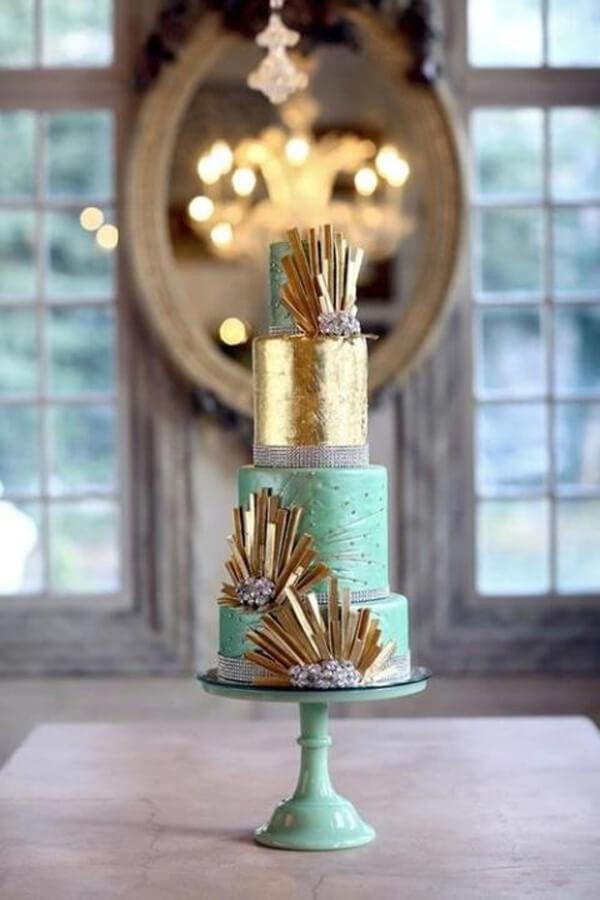мятный свадебный торт