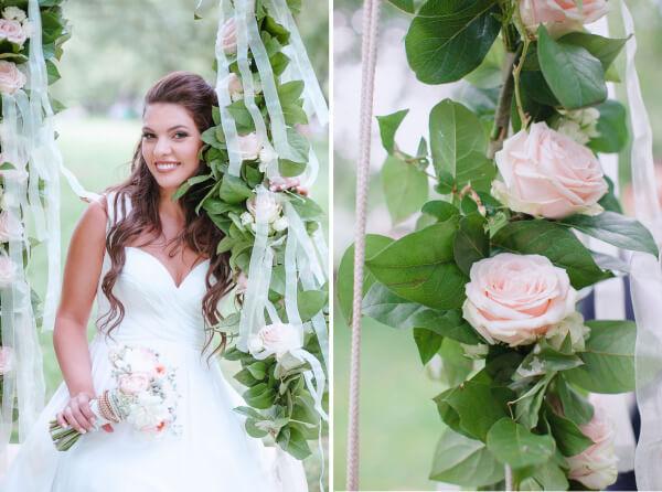 оформить качели на свадьбе