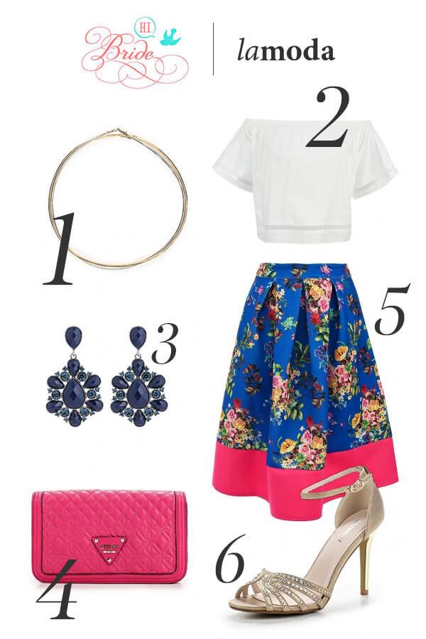 Синяя юбка с цветами