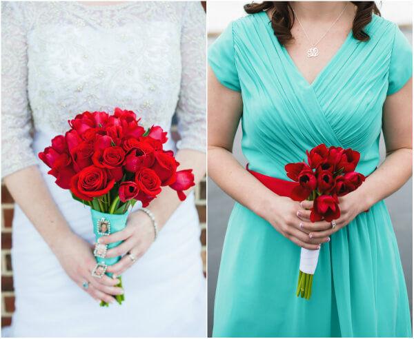 яркие цвета на зимней свадьбе