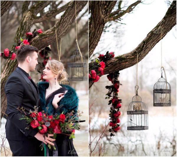Свадьба в оттенках черного и марсала