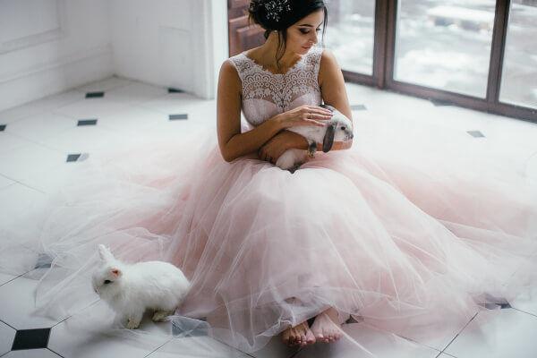 свадебная фотосессия с кроликами
