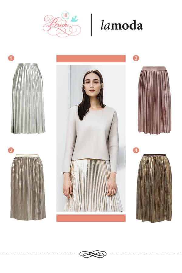 плиссерованные юбки с металлическим эффектом