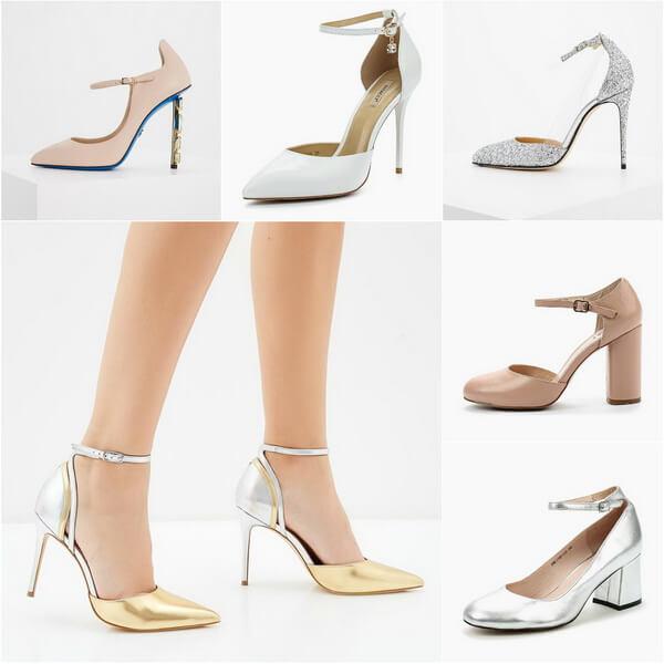 свадебные туфли с ремешком на щиколотке