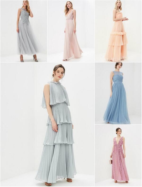 Платья в пастельных оттенках для подружек невесты