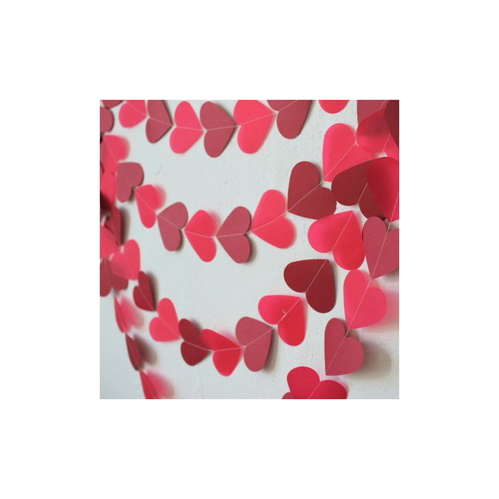 Бумажная гирлянда из сердечек на свадьбу своими руками